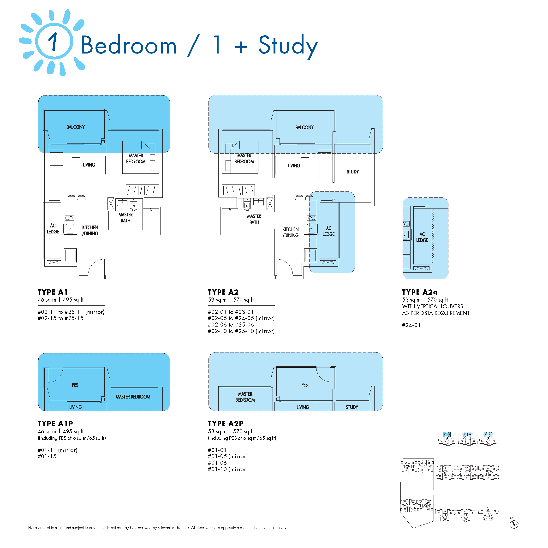 1 Bedroom / 1 + Study