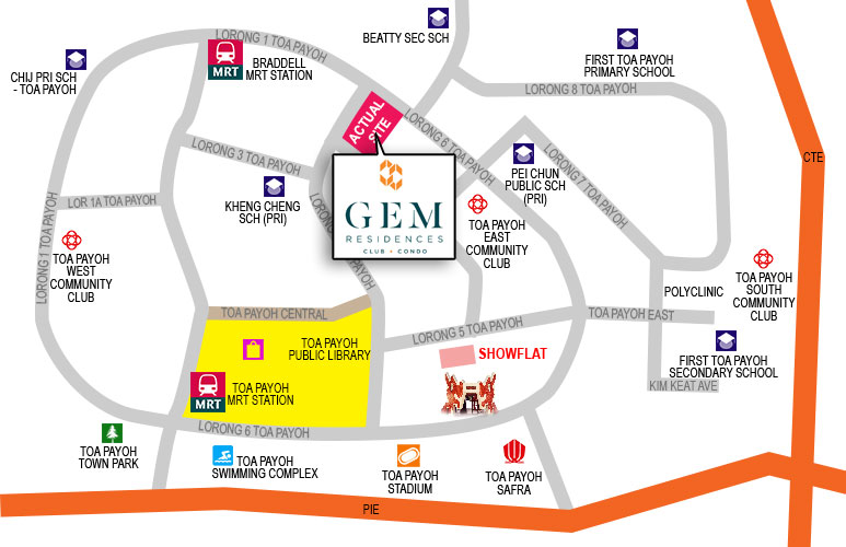 Location of Gem Residences Show Flat and Actual Site