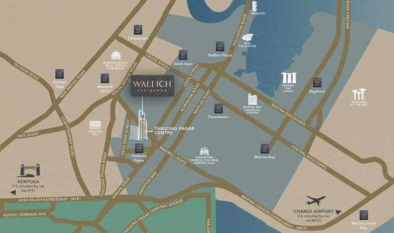 Wallich Residence is located at Tanjong Pagar, downtown core of Singapore.