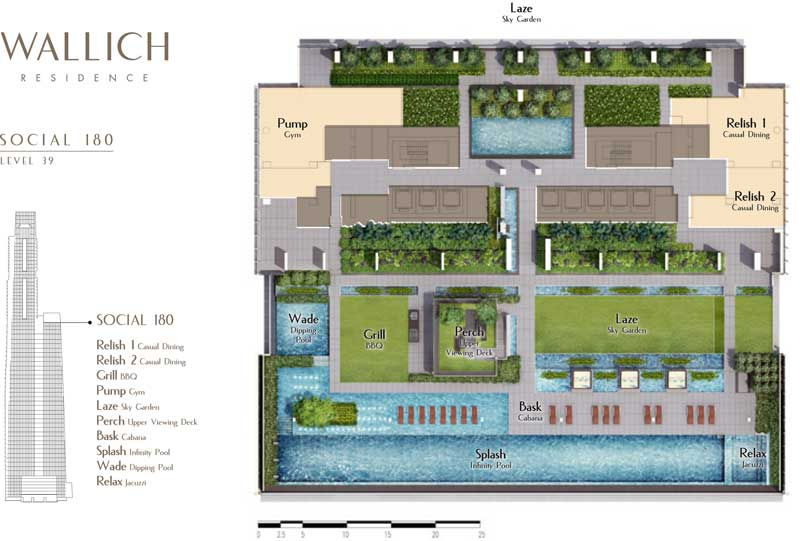 Site Plan of Social Deck of Wallich Residence. Swim and relax at Social Deck. With view overlooking the skyline of Singapore CBD.