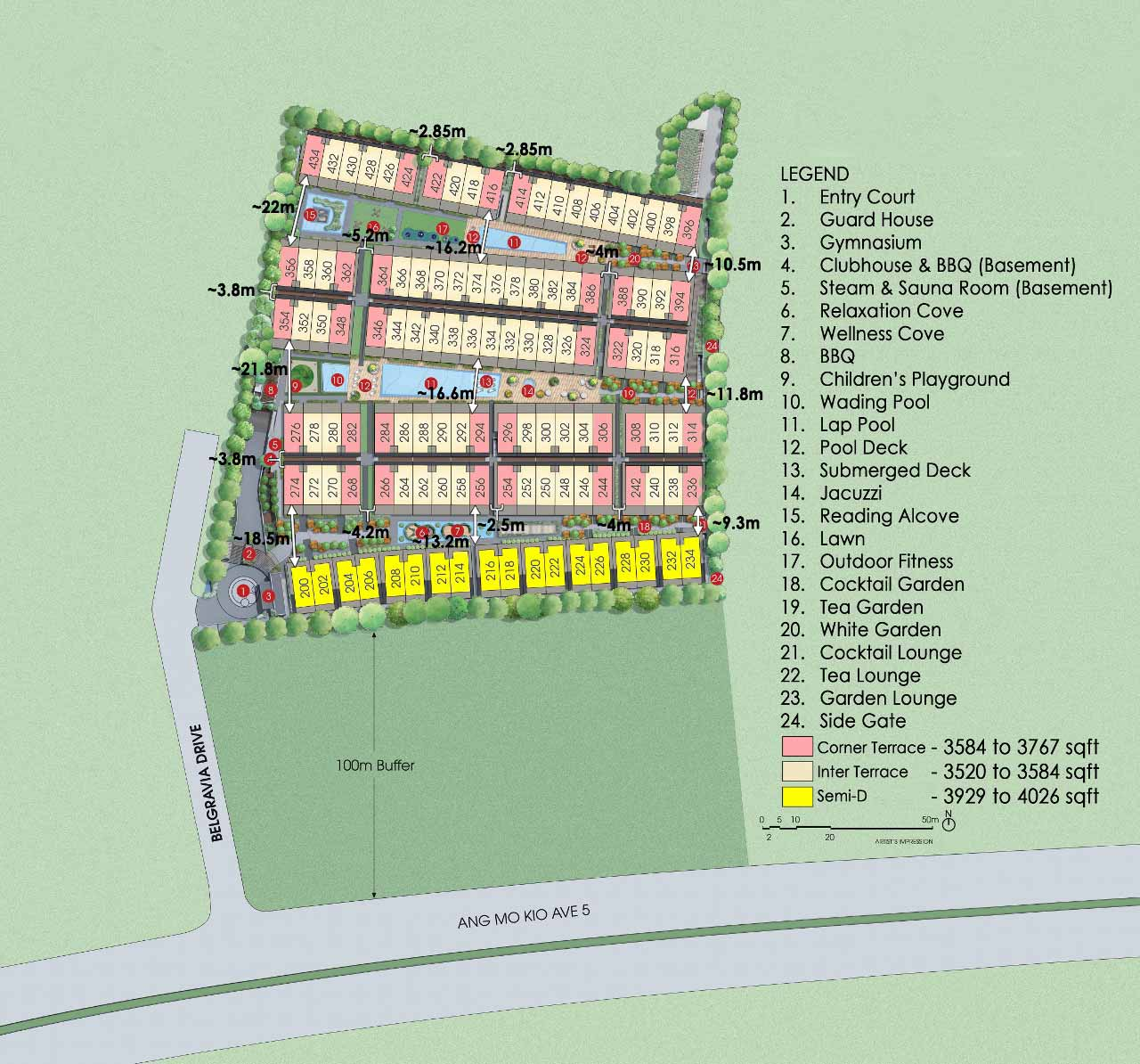 Site Plan for Belgravia Villas