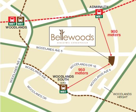 Bellewoods distance to the MRT stations